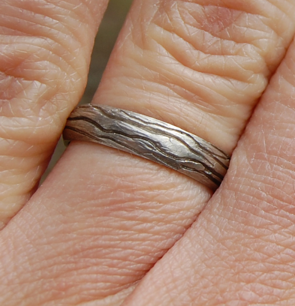 Tree Bark White Gold Wedding band