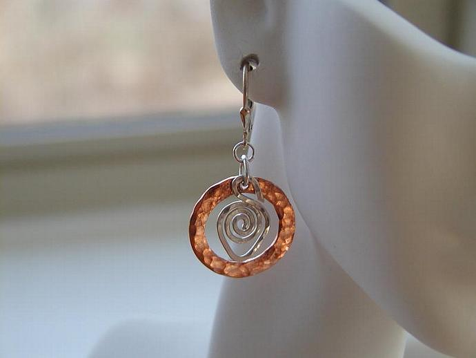 Handcrafted Copper/Silver Earrings