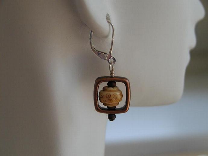 Handcrafted Bronze/Bone Earrings