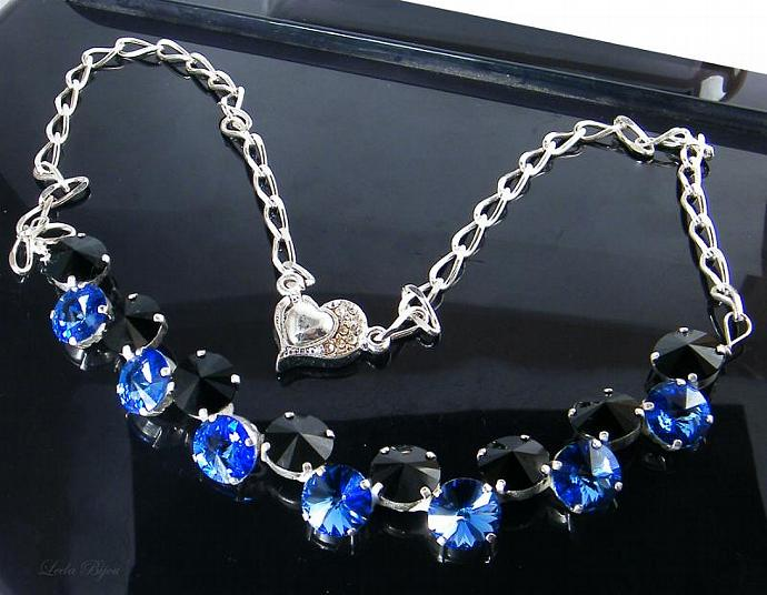 Alysa Necklace  - Black and Blue Swarovski Crystal Silver Plated
