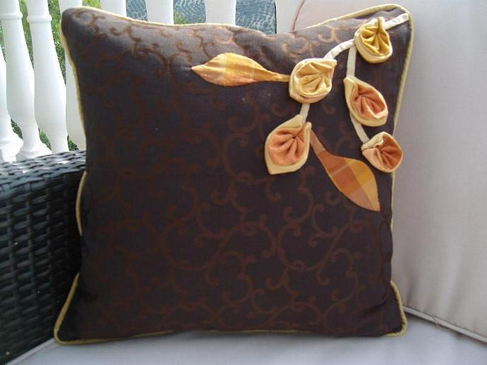 Special offer Cushion cover golden autumn brown gold. Handmade cotton.