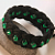 black rope bracelet with green beads turks head knot bracelet knotted bracelet