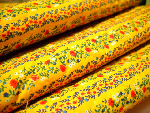 Charming Vintage Fabric - Quilted Yellow Calico
