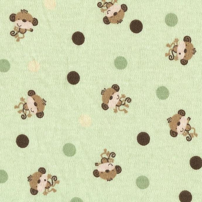 LiL GReeN MoNKey DoTS, Cotton Interlock Knit Fabric, by the yard