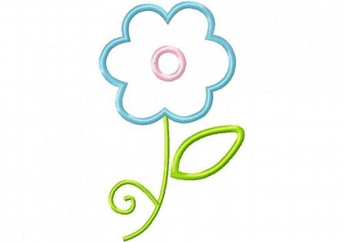 Frilly Flower 2 Applique Machine Embroidery Design