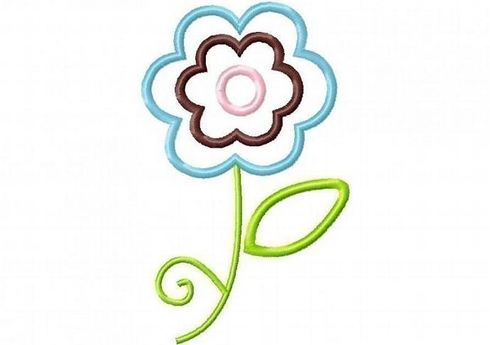 Frilly Flower 1 Applique Machine Embroidery Design