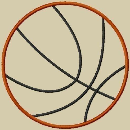 Basketball Applique Machine Embroidery Design