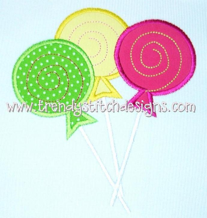 Sweet Shoppe Lollipop Trio Applique Machine Embroidery Design