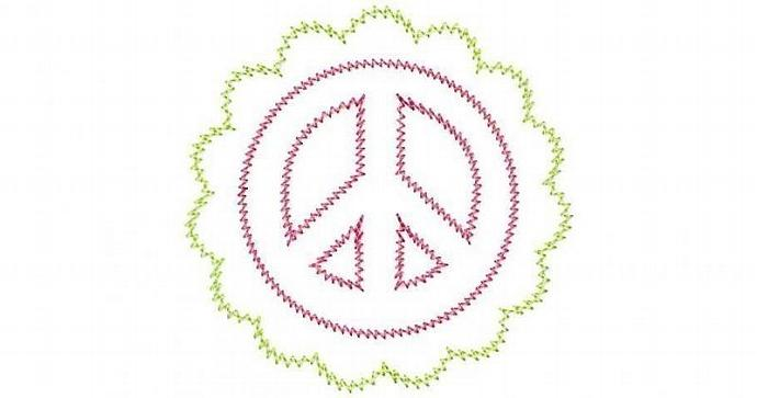 Scalloped Peace Sign Patch Applique Machine Embroidery Design