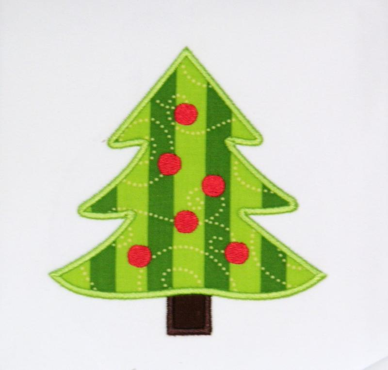 christmas tree with dots applique trendystitchdesigns - Christmas Tree Applique