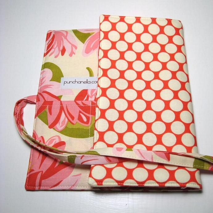 Brush Roll - Waterlilies and dots in Cherry- Made to order