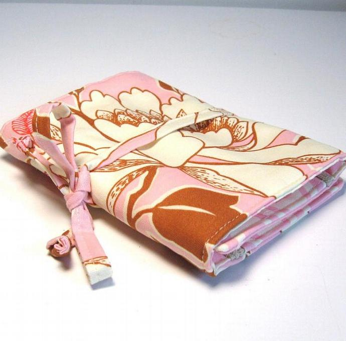 Jewelry Roll - Tree Peony in pink- Made to order