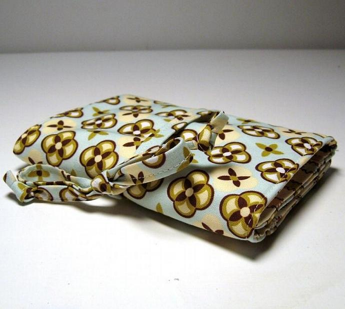 Jewelry Roll - Tortoise Plaid in Breeze - Made to order