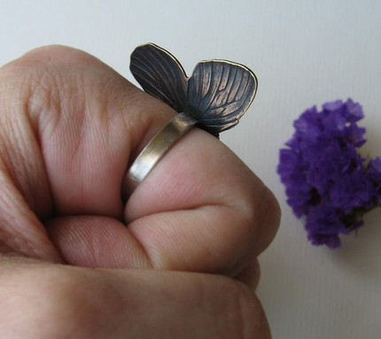 Brass Butterfly Ring with Sterling - Made to Order