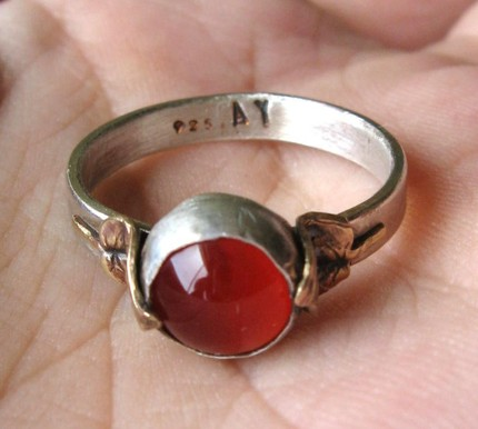 Carnelian Ring - Antique Brass Leaves & Sterling