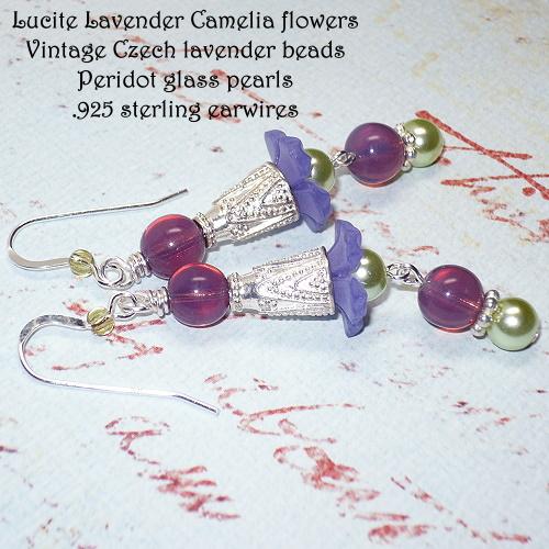 Lucite Lavender Camelia Flower Chandelier Earrings
