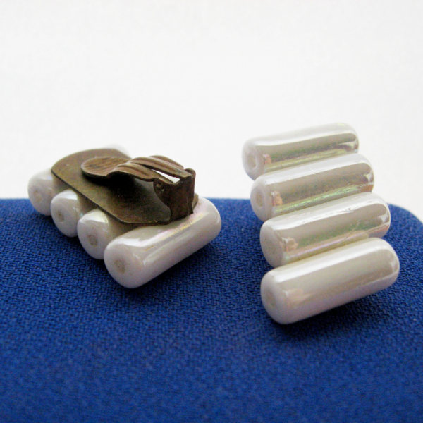 White Iridescent Tube Bead Clip Earrings Modernist Minimalist Architectural