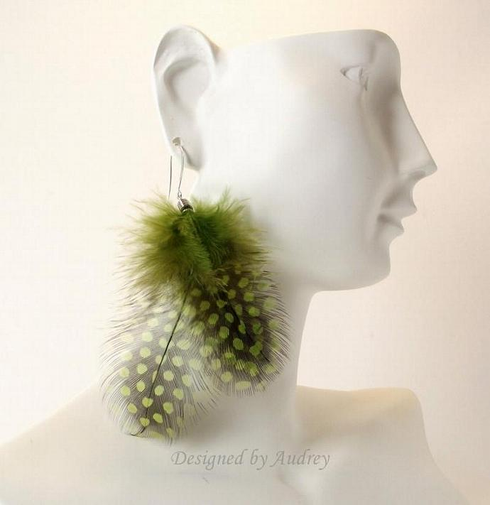 Olive Green and Black Dot Feather Earrings