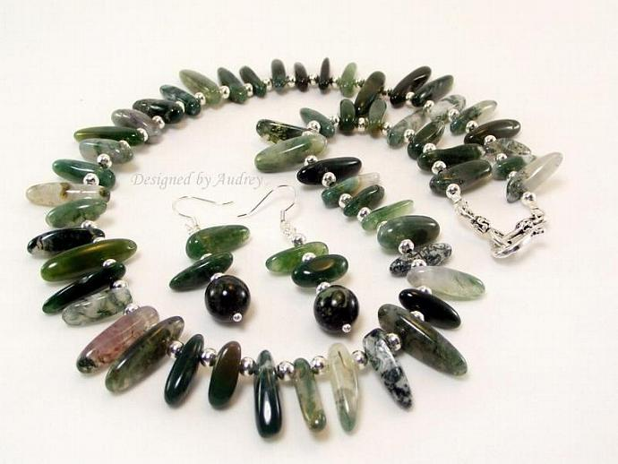 Necklace and Earring Set in Moss Green Matrix Jasper Stick Beads