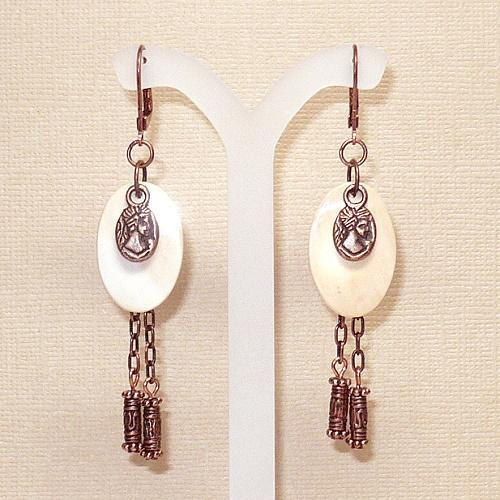 Antique Copper & Melon Shell Roman Coin Charm Earrings