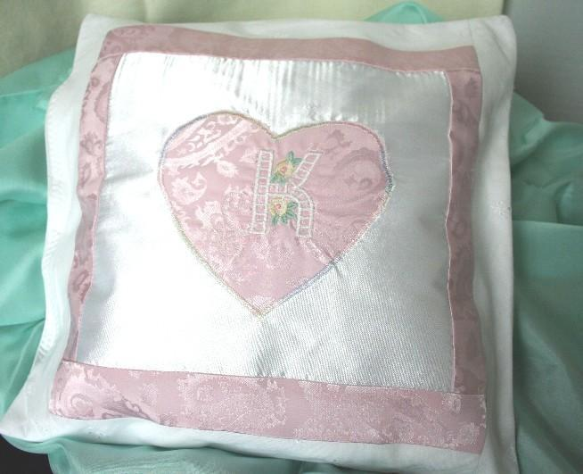 Lavender Scented Pilllow 11 x 11, Pink and White Satin