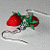 Strawberry earrings - glass figurine jewelry