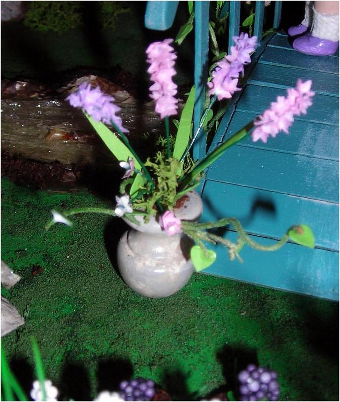 Pink and Lavendar Floral Arrangement in Stone Urn in One Inch Dollhouse Scale
