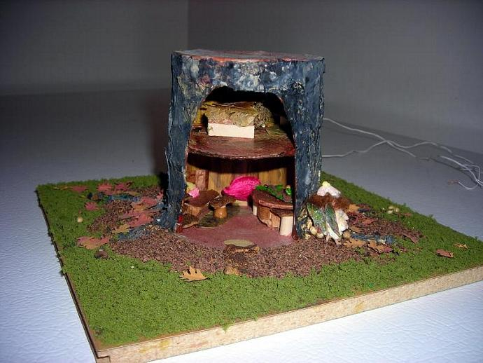 Quarter Scale Fairy House in a One Inch Scale Tree Stump