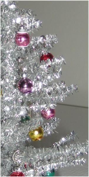 "Decorated Silver ""Vintage Style"" Christmas Tree in One Inch Scale"