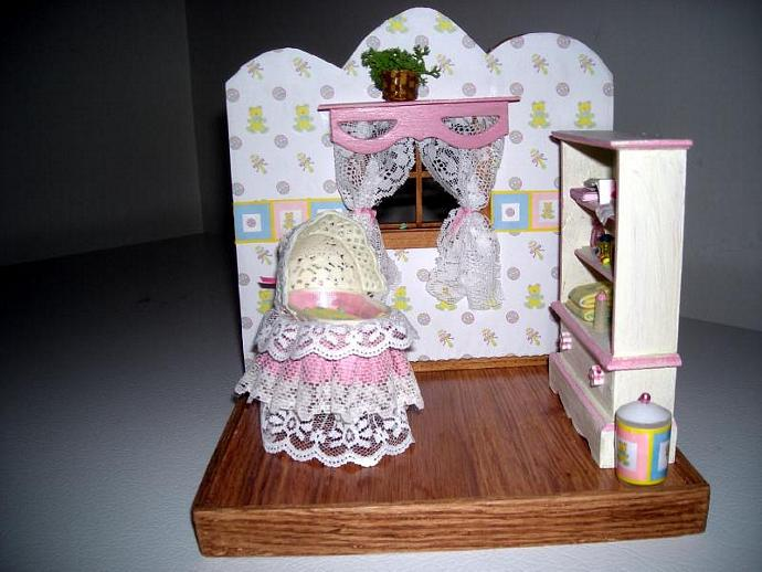 Baby Girl Nursery Vignette in One Inch Scale