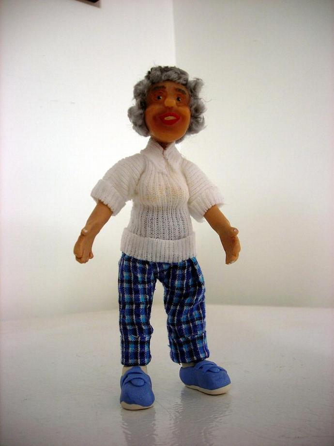 Grandma Mary, a One Inch Scale Polymer Clay Doll