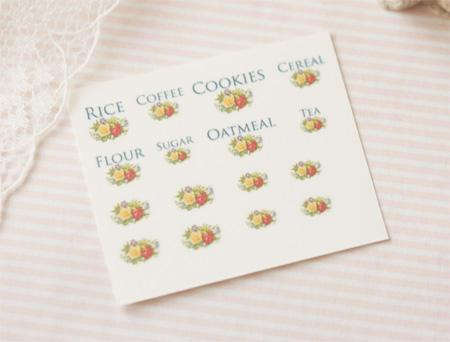 Dollhouse Miniature 1/12 Scale – Kitchen Canister Labels Set 5