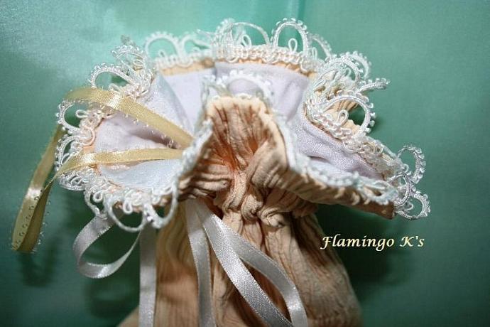 """Bridal Bag, peach and white 6""""x8"""""""