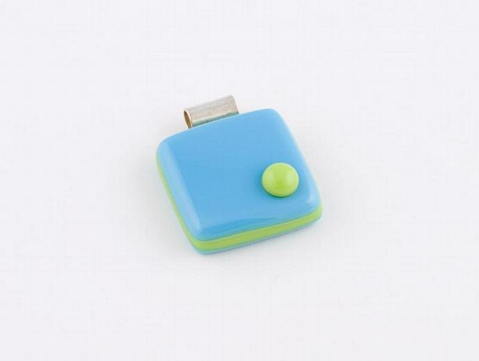 Blue and Lime Green Fused Glass Cube Pendant