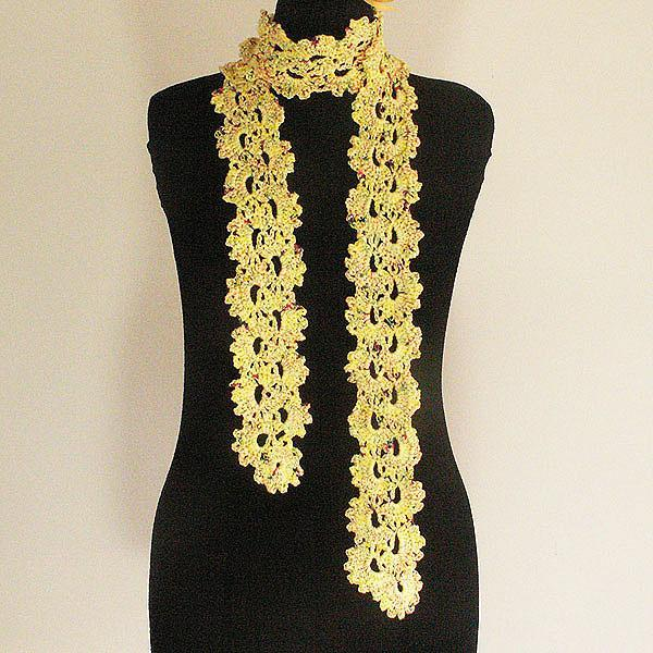 Yellow Crocheted Cotton Skinny Scarf