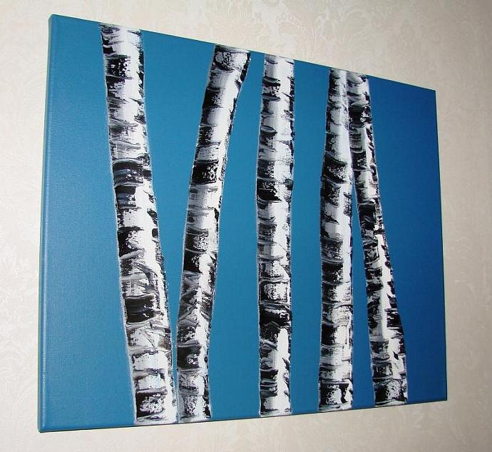 Midnight Blue Birches-Original Oil Painting