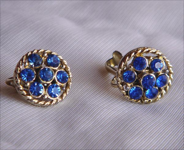 Vintage-  Blue Faceted Glass Earrings