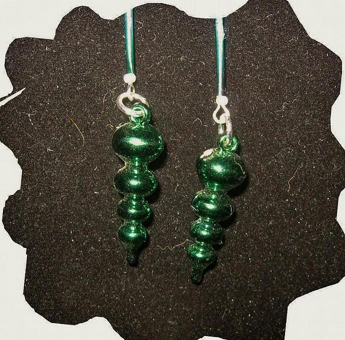 New Green Porcupine Quill and Green Ornament Earrings