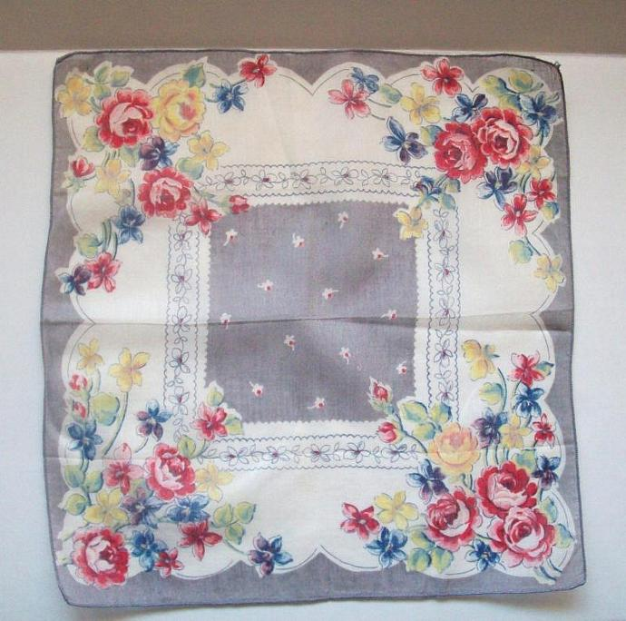 Vintage - Hanky Delicate Floral Soft Muted Tones New