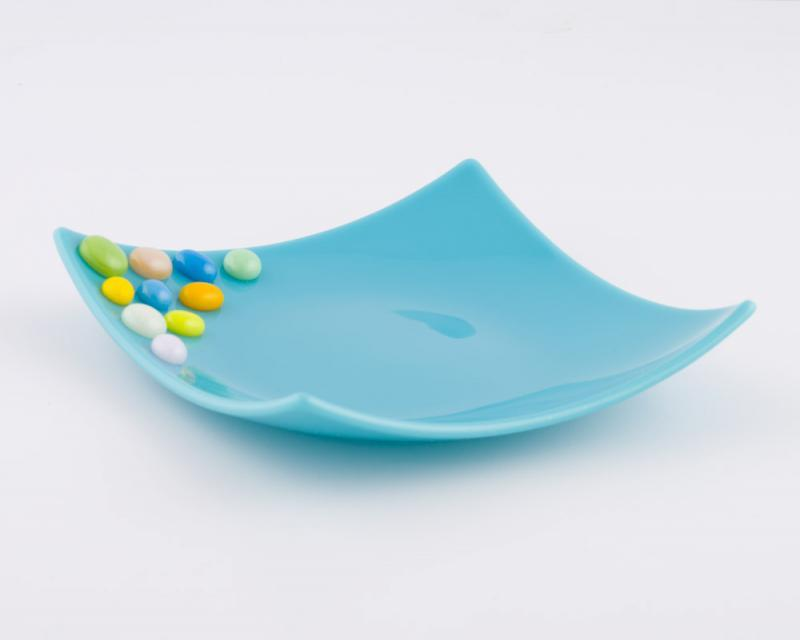 Fused Glass Dish with raised Glass Candies
