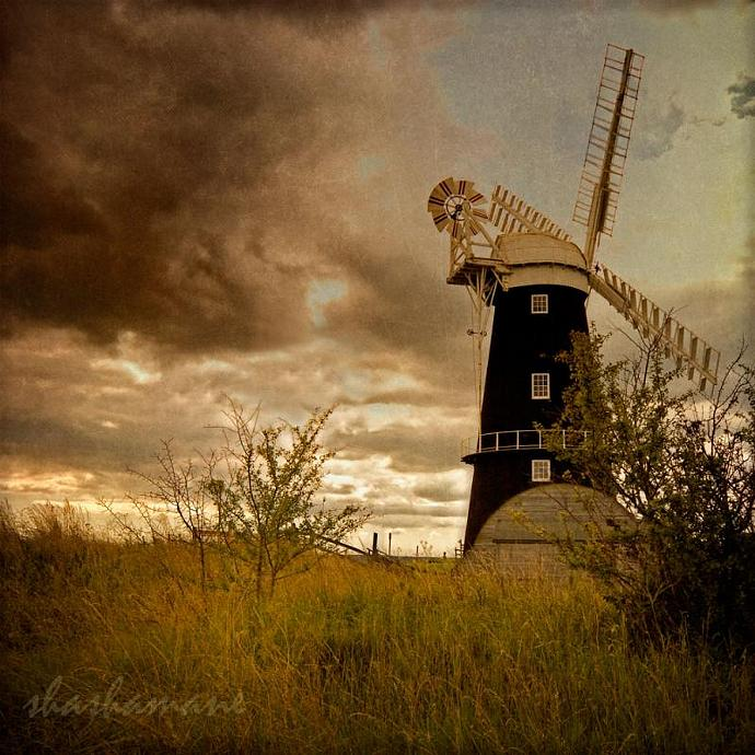 Blowing away the black clouds - 8x8 fine art photography print Norfolk Broads