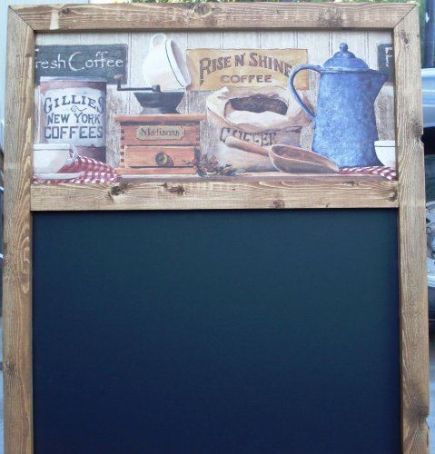 OLD FASHION COFFEE CHALK BOARD WITH CHALK TRAY