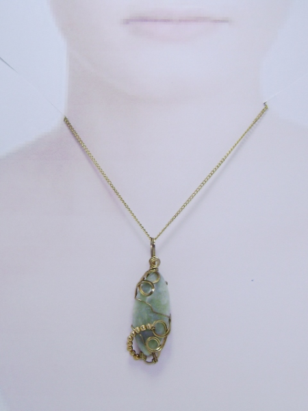Wire-Wrapped Amazonite Gemstone Pendant