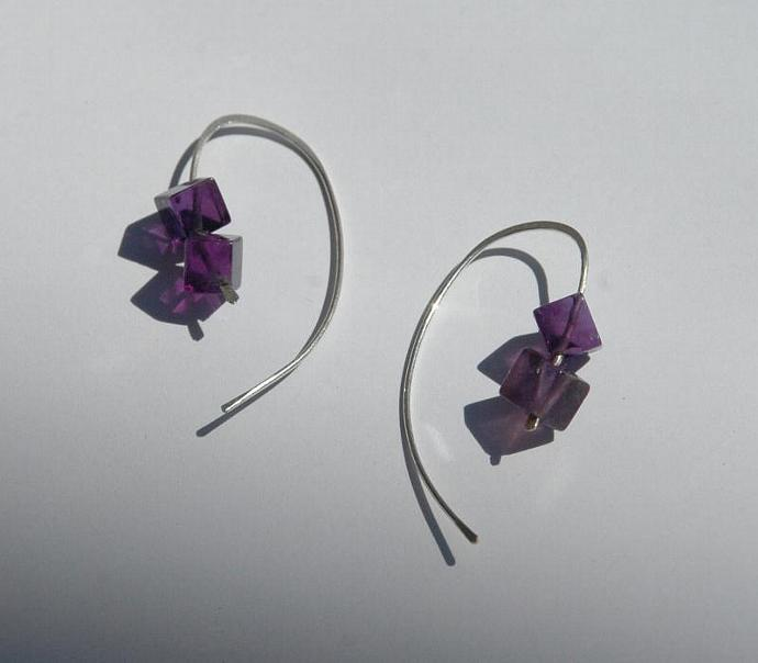 Amethyst Cube Earrings