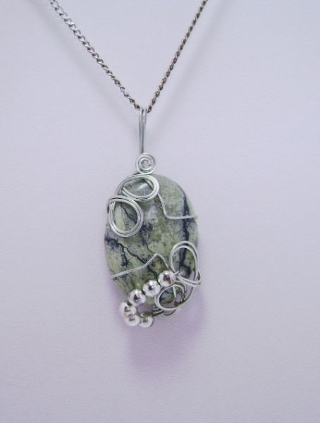 Wire-Wrapped Picture Jasper Gemstone Pendant