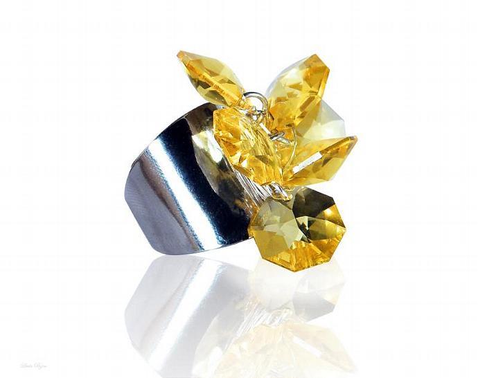 Eos Ring - Light Topaz Swarovski Crystal Silver Plated Yellow
