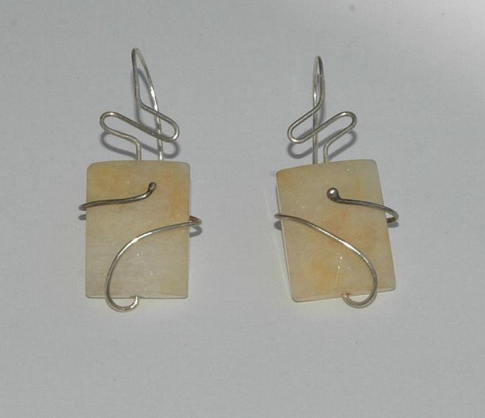 Square Stone Wire wrapped Earrings