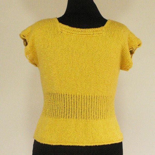 Butter Cream Yellow Cotton Sweater, Size Medium