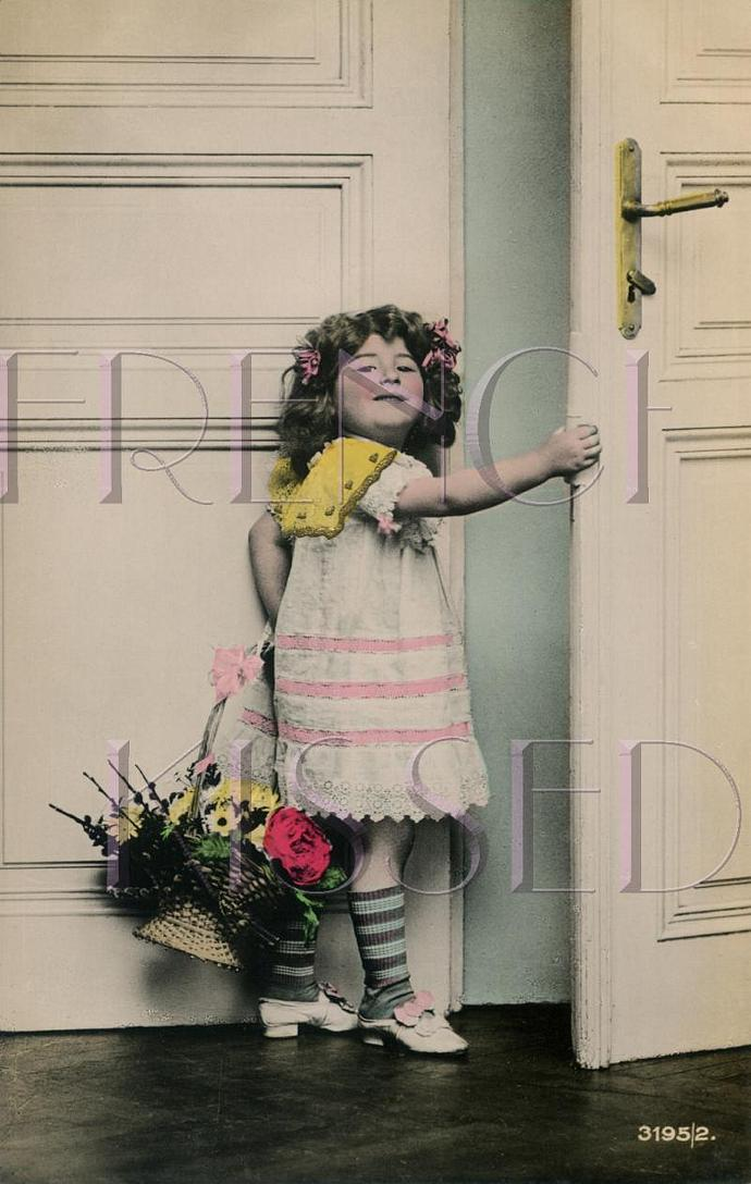 Victorian Girl at Door No 2, Basket Bouquet flowers French postcard DIGITAL scan