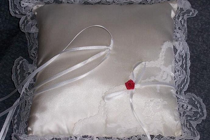 White Square Satin  Wedding Pillow